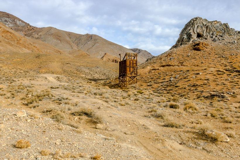 Death Valley-Cerro Gordo Road-Mine workings on west side
