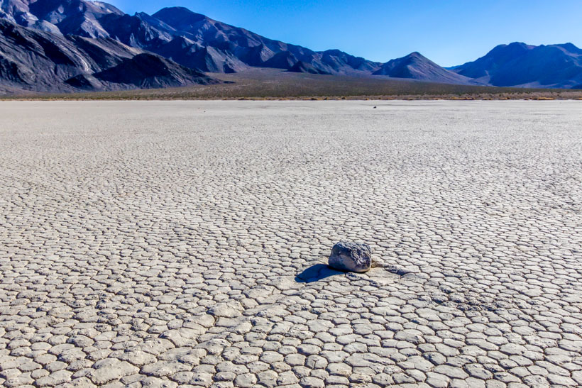 Moving rock on The Racetrack Playa Death Valley