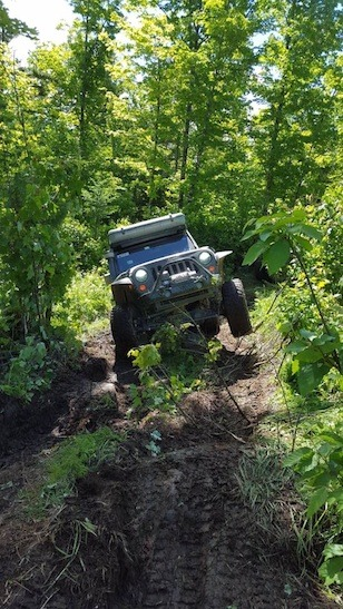 Bodner thumping on a challenge trail in New Hampshire