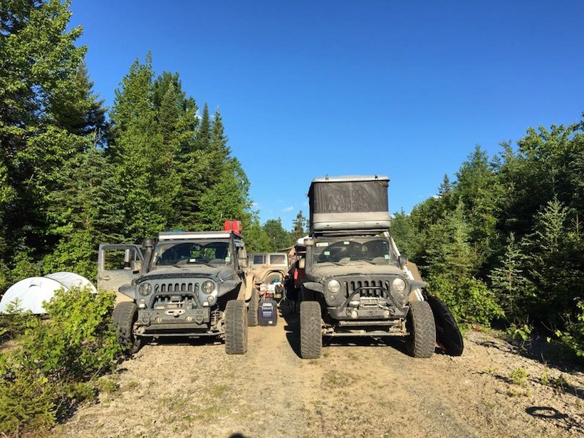 Our campsite in Maine. Team 41. Mike Kelly's JKU and my JK