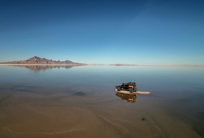 Captured by drone at the Bonneville Salt Flats- Utah